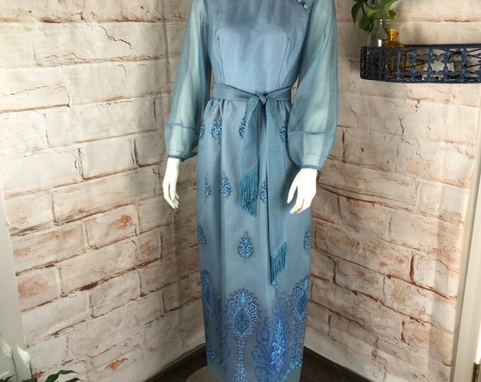 Vintage 1970s 70s Alfred Shaheen Blue Maxi Gown Dress Filigree S/M Hawaiian vtg