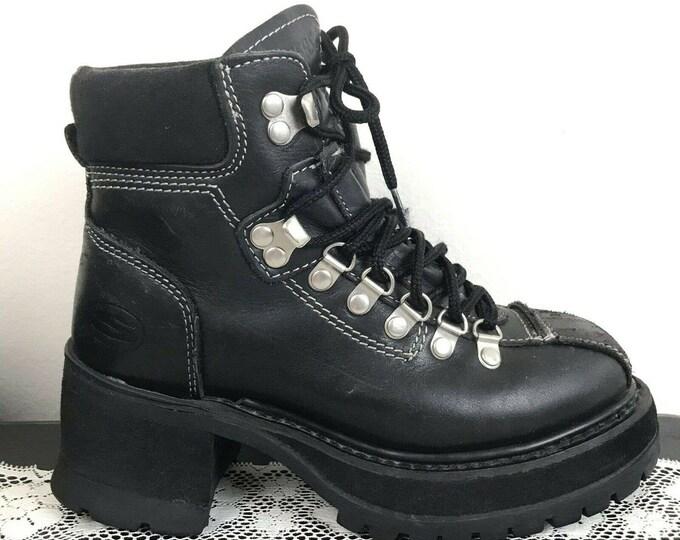 Vintage 90s Skechers Platform Black Leather Lace Up Boots 6 Chunky Heel Y2K