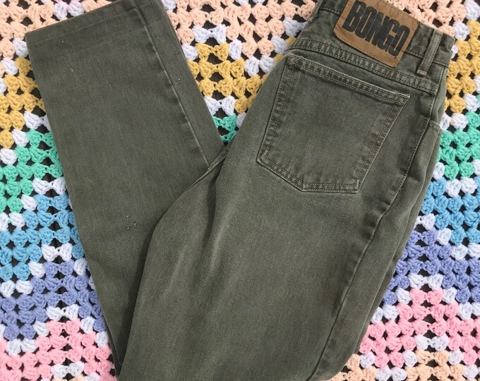 Vintage 80s 90s Sage Green Bongo Jeans 13 L 29x26 High Waist Mom Pants Large vtg