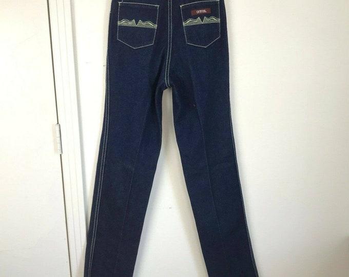 Vintage 80s Dittos Indigo Dark Wash Jeans Straight Leg High Waist 24x31 Unhemmed