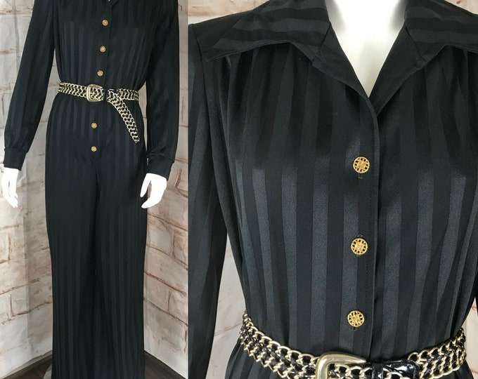 Vintage 70s Black Striped Butterfly Collar M/L Wide Leg Disco Jumpsuit Polyester 1970s Medium/Large