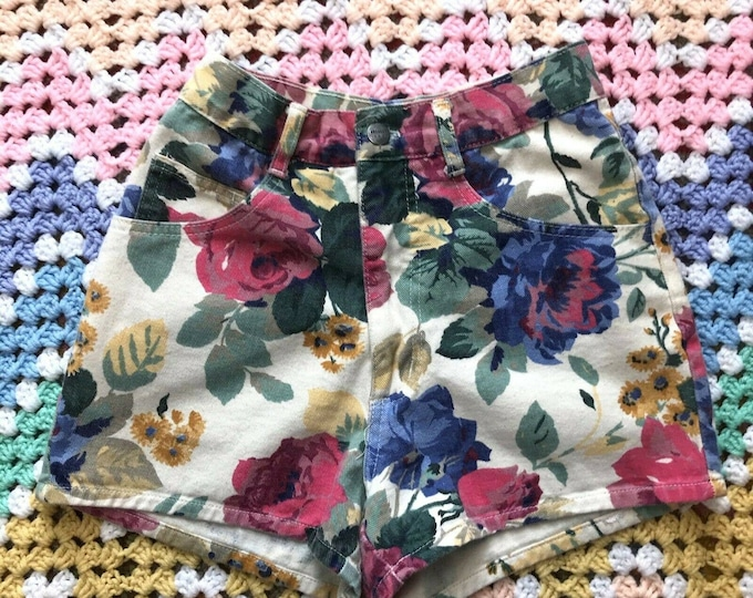 Vintage 90s Floral High Rise Waist Denim Jean Shorts Breaker Jeans S Small 25""
