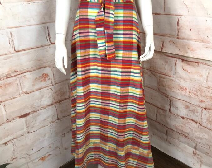 Vintage 70s Plaid RAINBOW S Small Maxi Wrap Skirt Cotton Pakistan Hippy 1970s