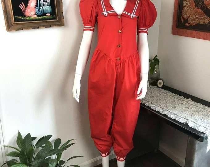 Vintage 80s Red Nautical Sailor Collar Jumpsuit XS Petite Puff Sleeve