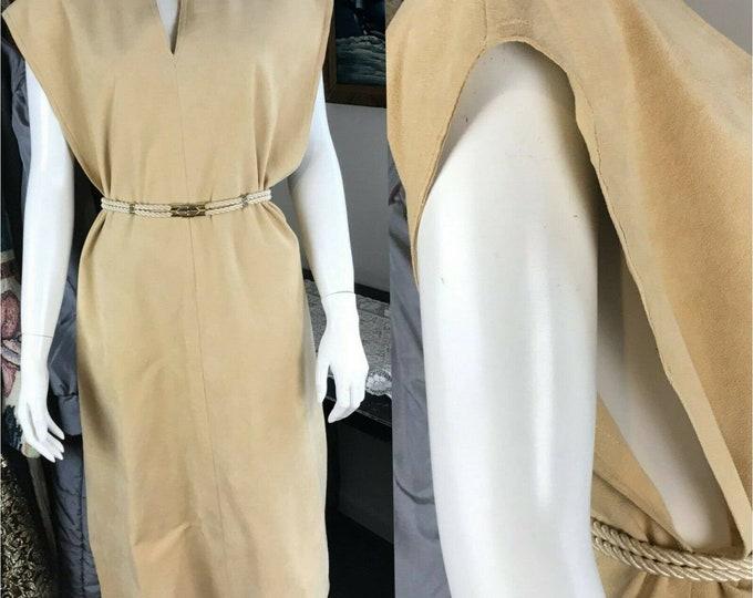 Vintage 70s Lilli Ann UltraSuede Tan Sheath Midi Dress Open Side Space Age L