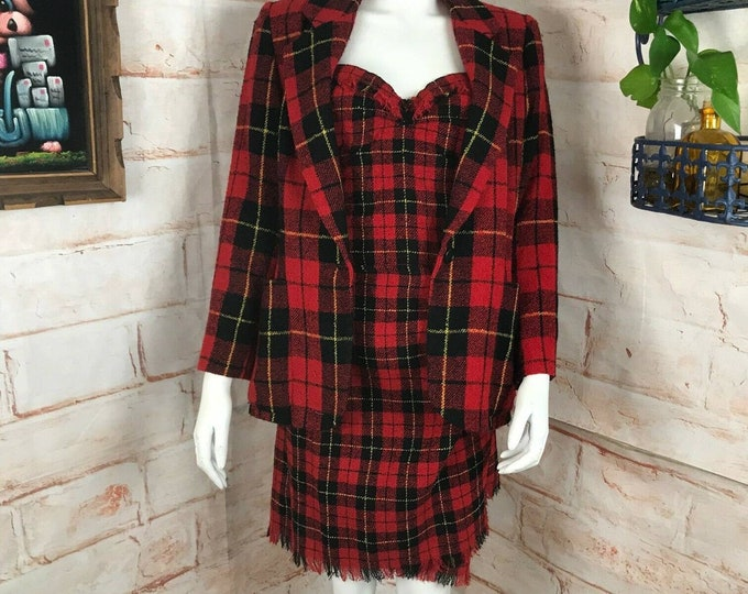 Vintage 90s DKNY Red Plaid Bustier Wrap Mini Skirt M Blazer Jacket 3Pc Suit Wool Medium
