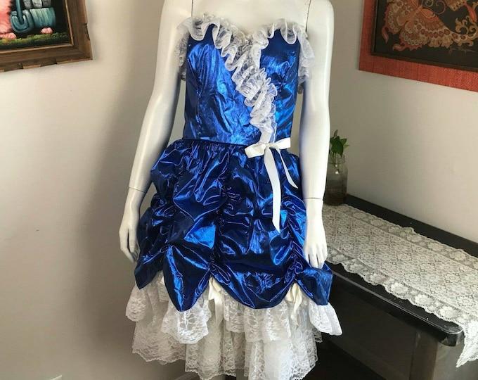 Vintage 80s Loralie Metallic Blue Lace Southern Belle Prom Strapless Formal Dress M Sweetheart Medium