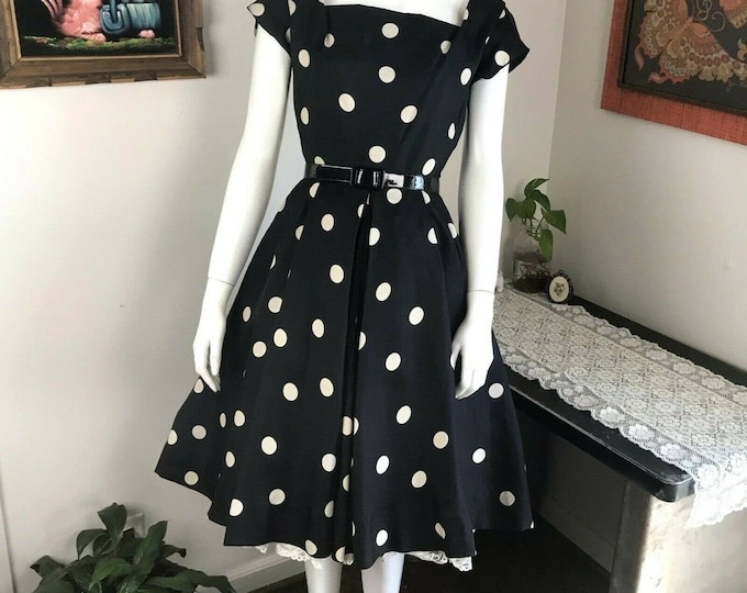Vintage 50s 60s Adele Simpson SILK Polka Dot Fit Flare Dress Pinup Black 1950s XS XSmall