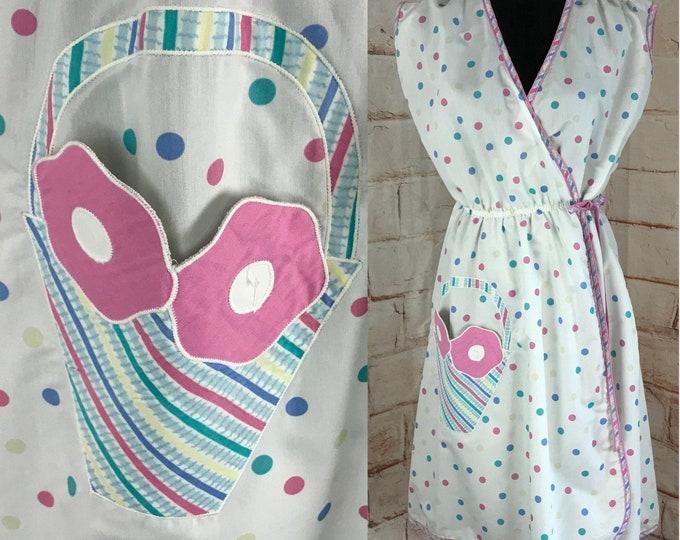 Vintage 80s Polka Dot Pastel Rainbow Midi Wrap M/L Dress Fairy Kei applique Secretary vtg 1980s Medium/Large Kawaii cotton alternatives
