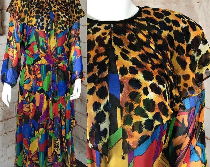 Vintage 80s Diane Freis Georgette Chiffon Rainbow Draped Cheetah Abstract Dress 1980s Medium/Large M-L