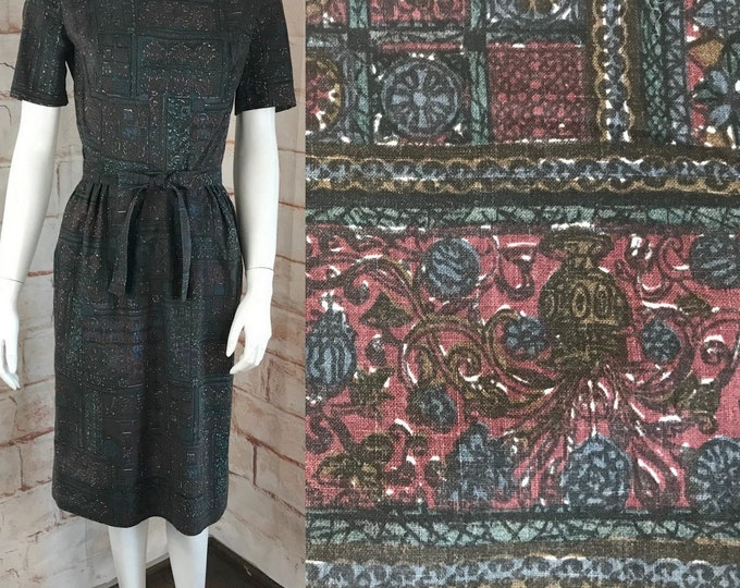Vintage 50s Stained Glass Print Abstract Novelty Wiggle Pencil S Small Sheath Dress 1950s