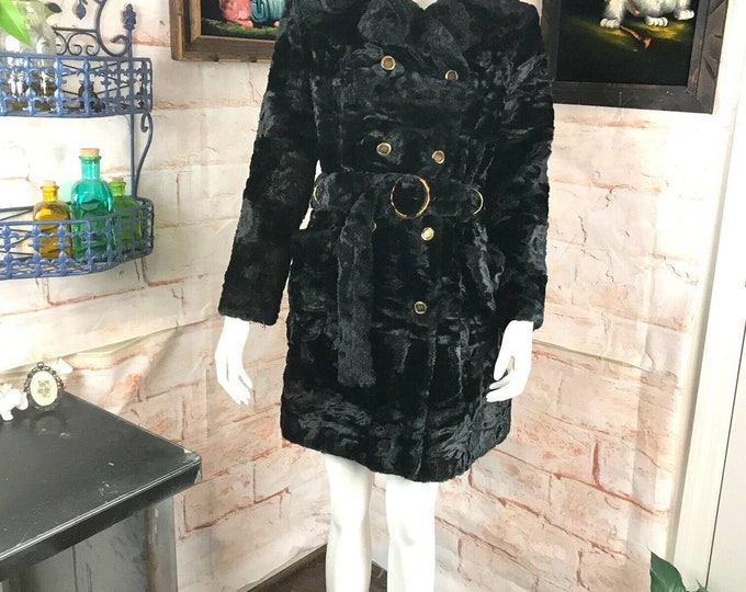Vintage 70s Soft Faux Fur Black Trench Belted Belt Winter Coat Boho S/M 1970s