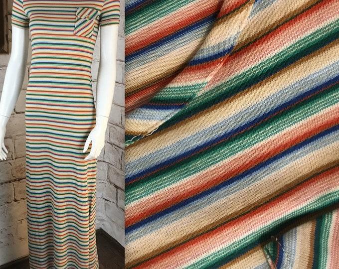 Vintage 70s Lesli J Rainbow XS Thin Striped Stretch Bodycon Maxi T-Shirt Dress 1970s XSmall