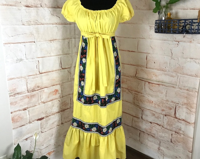 Vintage 70s Yellow Embroidered M Medium Prairie Peasant Linen Dress Off Shoulder 1970s romantic