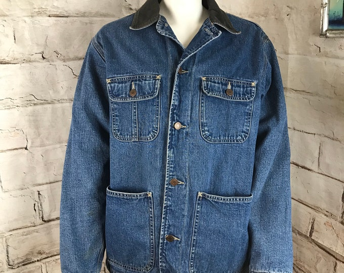 Vintage 90s Gap Blanket Lined Chore Jean Denim Jacket Coat Mens-S Womens-M 1990s Unisex