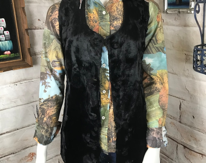 Vintage 70s Womens Black Faux Fur Vest Sleeveless Long Top S 1970s Small Boho Hippie Hippy
