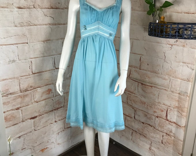 Vintage 60s Rogers XS 32 Blue Nylon mini Babydoll Nightgown Lingerie Sheer dress 1960s