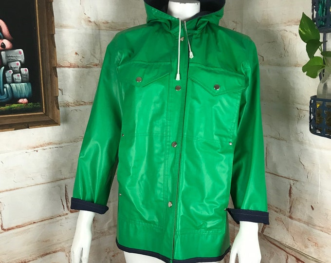 Vintage 70s Unisex Green PVC Raincoat Small Coat Mens-S Womens-S/M Hooded Hood 1970s