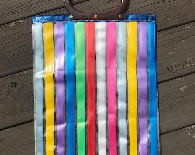 Vintage 60s 70s Striped Rainbow Vinyl Clear Tote Shopper Bag Purse Plastic 1960s