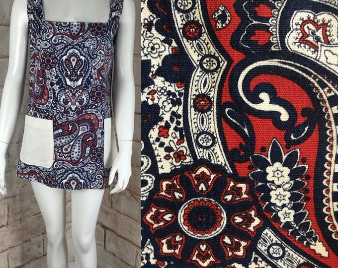 Vintage 60s Paisley S Small Micro Mini Shift Scooter Dress 1960s Cotton Canvas Small Mod