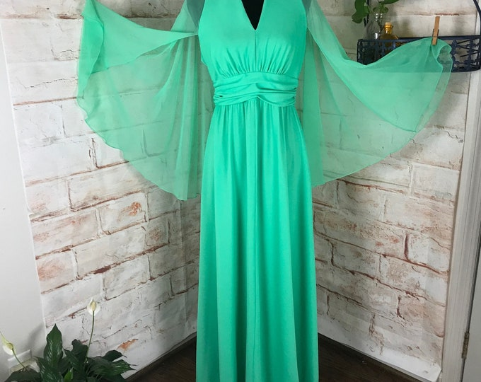 Vintage 70s Green Sheer Chiffon Draped Cape Sleeves L Maxi Dress Caftan Gown 1970s Large Hostess