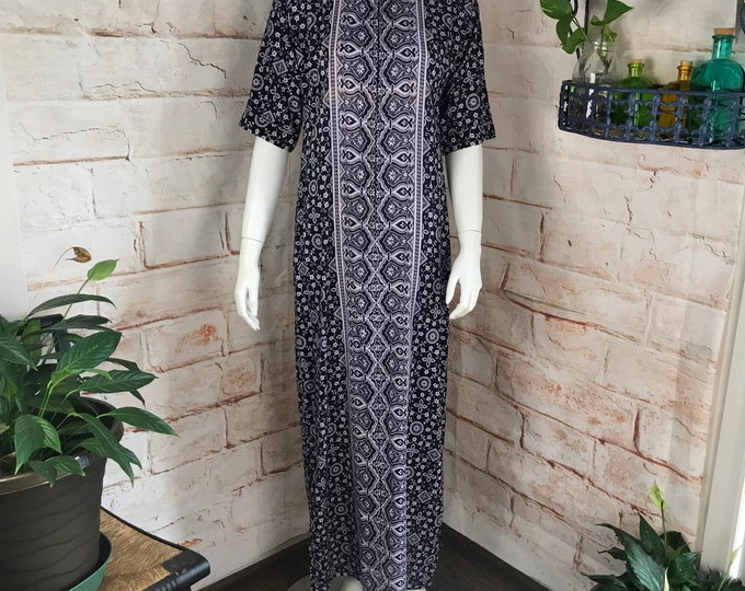 Vintage 70s Cotton Pakistan M India Maxi Caftan Dress floral batik hand block 1970s cotton medium
