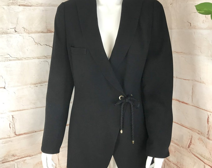 Vintage 90s Womens I Magnin Design Studio Fashion House Sanyo Japan Minimilist 12 L Black Blazer Jacket 1990s Large
