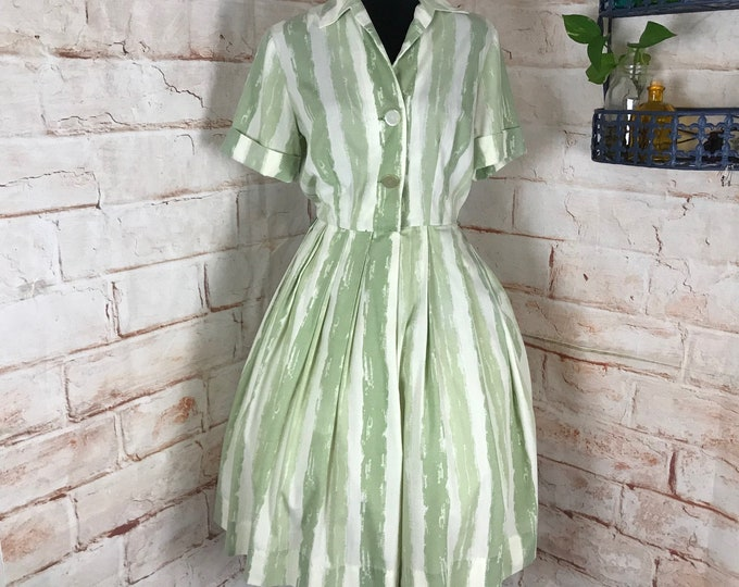 Vintage 50s Nelly Don Striped Brushstrokes Sage Green M/L Full Skirt Pleated pleat Dress 1950s  Medium/Large