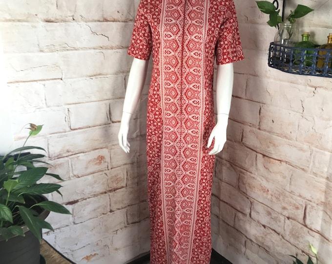 Vintage 70s Cotton Pakistan M India Maxi Caftan Dress floral batik hand block 1970s Medium Kaftan Red