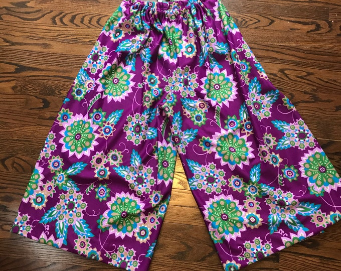 Vintage 70s Flower Power Psychedelic M/L Palazzo Wide Leg Wrap Pants novelty 1970s Floral Medium Large