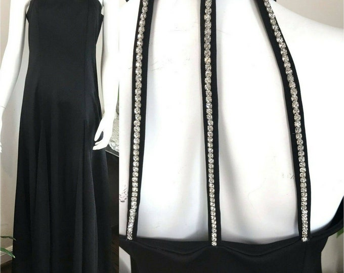 Vintage 70s Rhinestone Collar Choker Cage Black Maxi Ball Gown Formal Dress M/L