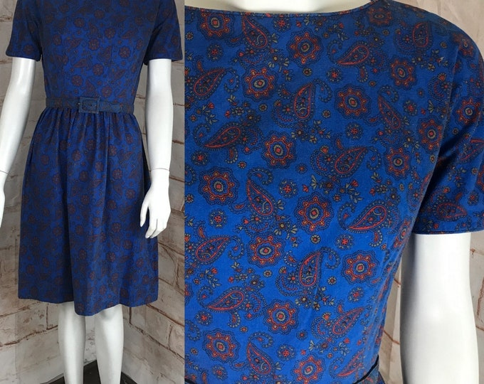 Vintage 60s Lanz Original Blue Paisley Floral Cotton Mini S Small Dress 1960s