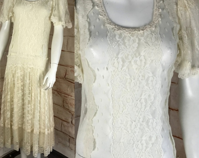 Vintage 80s Sheer Lace S Cream White Drop Waist Dress Swiss Dot Wedding Prairie 1980s Small