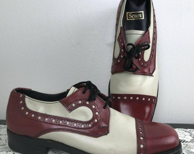 Vintage 60s 70s Mens Sears Two Tone Cap Toe 10.5 Dress Shoes Spectator Oxford