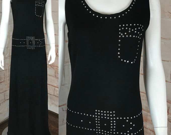 Vintage 70s Black Novelty Belt Rhinestone M Maxi Draped Gown Dress Polyester vtg 1970s sleeveless polyester