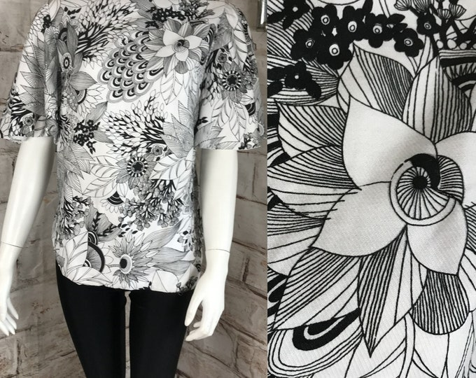 Vintage 60s 70s Psychedelic M Floral Outline Op Art Blouse Top Shirt Mod Bell Sleeves Medium 1960s Black White