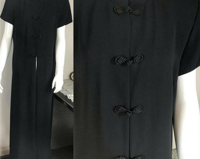 Vintage 90s Black Long Maxi Duster Top Asian-Style Shirt Blouse Cheongsam L/XL 1990s