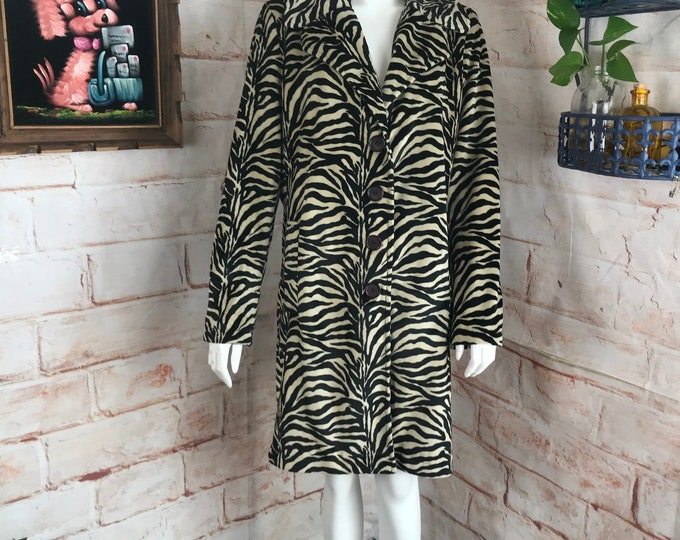 Vintage 00s 90s Betsey Johnson Faux Fur Zebra Tiger Striped M/L Animal Print Trench Coat Medium/Large vtg