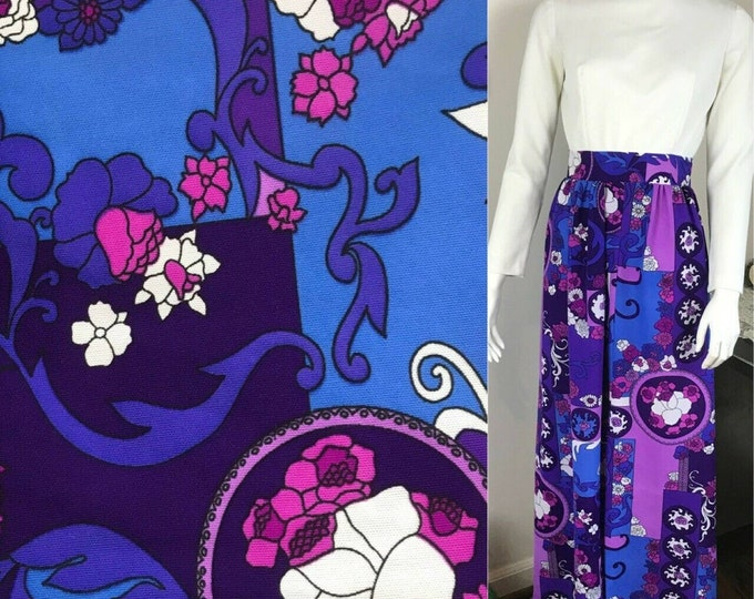 Vintage 70s Psychedelic Floral Filigree Polyester Maxi Dress S Purple Stockton