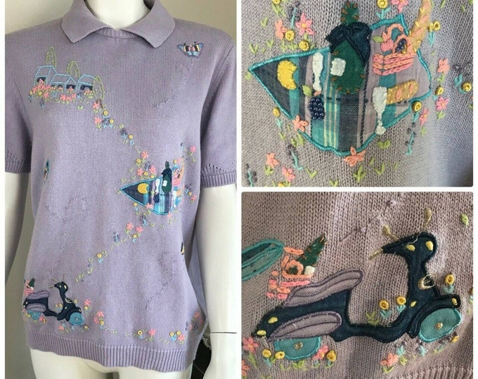 Vintage 90s Picnic Applique Embroidered Sweater Top Fairy Kei Pastel Novelty M/L