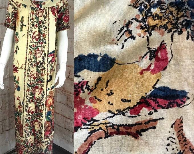 Vintage 60s 70s Royal Hawaiian S/M Batik Novelty Linen Peacock Caftan Maxi Dress 1960s 1970s Shift Small/Medium
