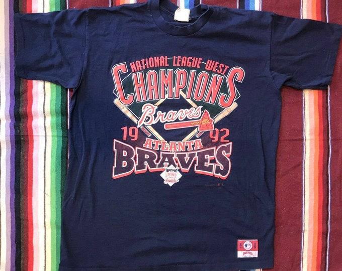 Vintage 90s 1992 Atlanta Braves Championship Champions T Shirt Single Stitch XL