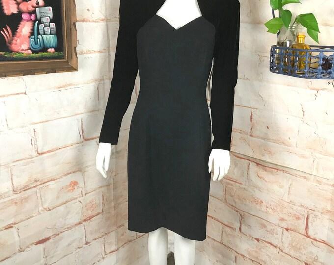 Vintage 90s NOS Morton Myles Black Formal Velvet Sheath Holiday M Party Dress 1990s Medium