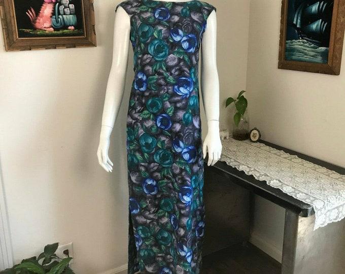 Vintage 60s 70s Malia Abstract Floral Maxi Hawaiian Dress Back Ties Train Small