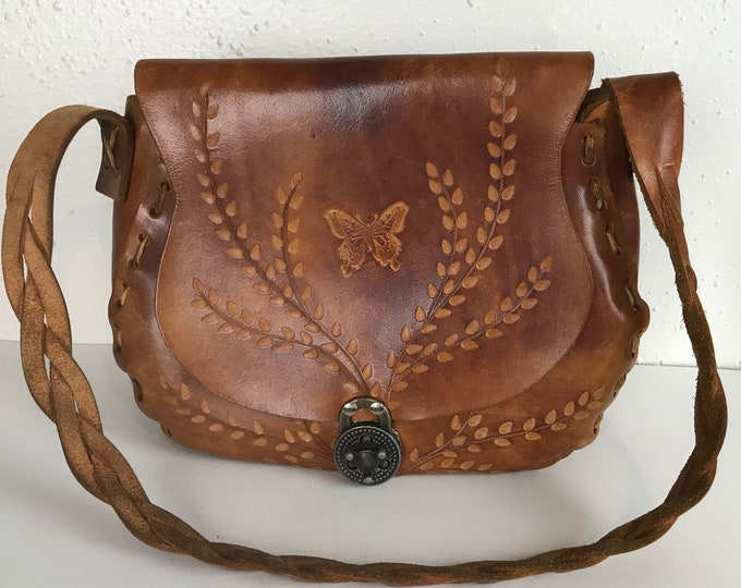 Vintage 70s Hand Tooled Leather Butterfly Purse Bag Medium Turn Lock vtg 1970s