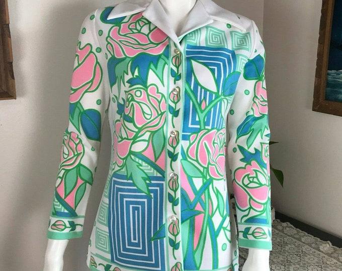 Vintage 70s Floral Art Nouveau Deco Roses Geometric Butterfly Collar Shirt Top