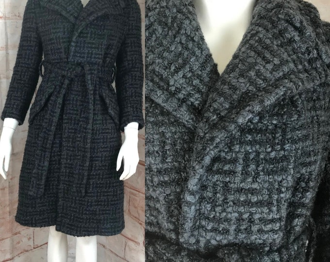 Vintage 70s Womens Gray Wool Belted Belt Winter XS XSmall Coat Mid Length 1970s Boucle Poodle cloth