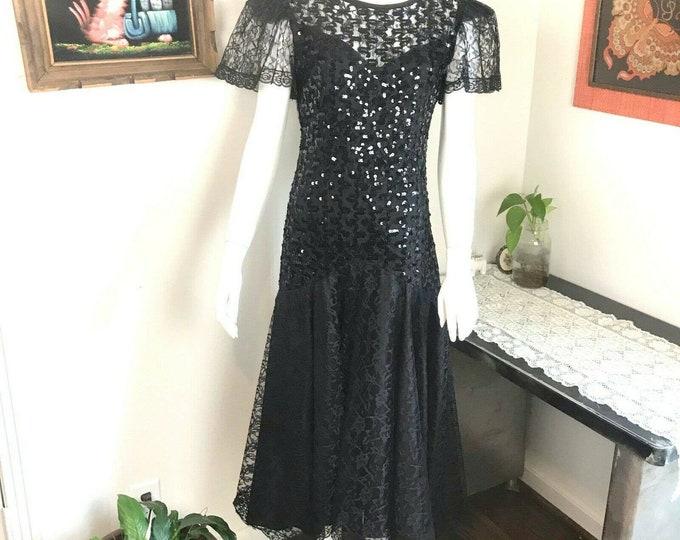 Vintage 80s Black Sequin Lace Drop Waist Prom Party Midi Dress S Small 5 1980s