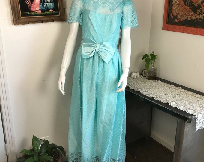 Vintage 70s NOS w/tags Aqua Blue Lace Floral Satin Maxi Prom Dress Bow Sheer S