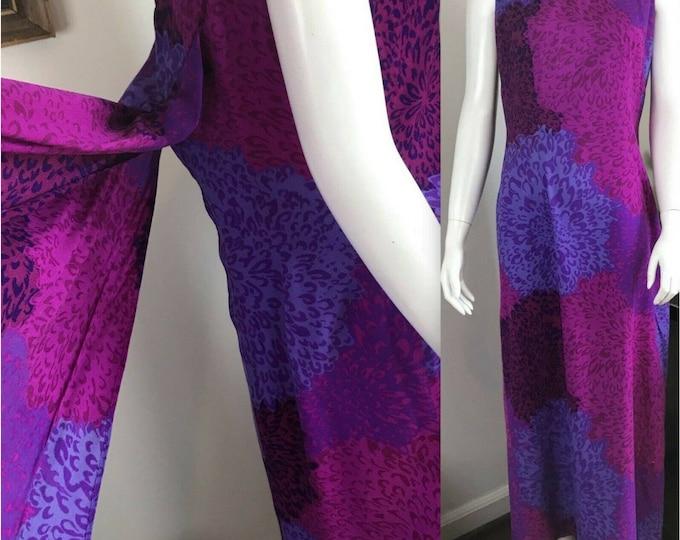 Vintage 70s Hukilau Floral Hawaiian Abstract Train Barkcloth Maxi Sun Dress L 1970s Large